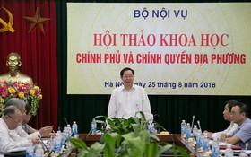 內務部長黎永新主持會議並發表講話。(圖源:懷娥)