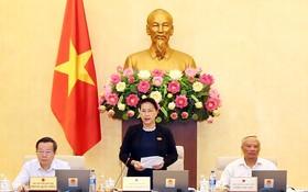 國會主席阮氏金銀在會議上致開幕詞。(圖源:仲德)
