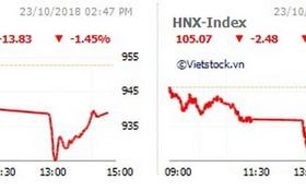 VN-Index收盤下跌13.83點、HNX-Index下跌2.48點。