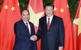 政府總理阮春福與中國國家主席習近平在會見中討論多項問題。(圖源:越通社)