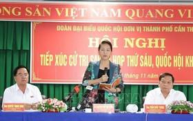 國會主席阮氏金銀在選民接觸會上發言。(圖源:越通社)