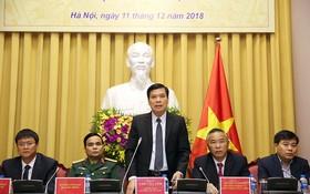 國家主席辦公廳副主任朱文俺(中)在新聞發佈會上發言。(圖源:日北)