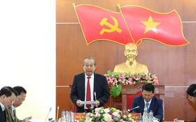 張和平副總理在會議上發表講話。(圖源:黎山)