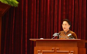 黨中央政治局委員、國會主席阮氏金銀出席會議並發表指導意見。(圖源:光勝)