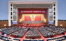 中國全國政協十三屆二次會議今日開幕。圖為中國全國政協十三屆一次會議開幕現場。(圖源:新華社)