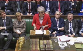 3月12日,在英國倫敦,英國首相特雷莎·梅出席議會下院辯論。(圖源:路透社)