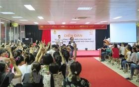 "CARE駐越南代表處與太原省勞動聯團配合在TDT投資與開發股份公司舉辦的""讓婦女擁有更多發言權,旨在終止廠房內的性騷擾情況""論壇。(圖源:越通社)"