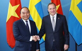 阮春福總理會見瑞典首相斯特凡‧勒文。(圖源:越通社)