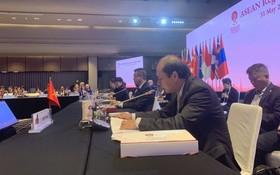 我國外交部副部長阮國勇在東盟地區論壇SOM會議上發言。(圖源:越通社)