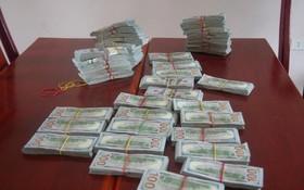 被查扣的入境攜帶大額外幣共47萬美元。(圖源:安江省邊防部隊)