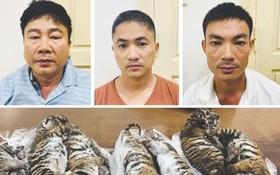 從上至下左起阮友惠、胡英秀、潘文歡及查獲贓證物。(圖源:警方提供)