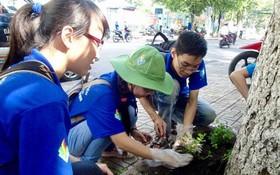 青年植樹攜手建設綠色城市。