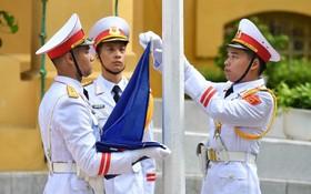 東盟旗升旗儀式。(圖源:VGP)