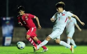 越南隊(白衣)-緬甸隊比賽一瞥。(圖源:互聯網)