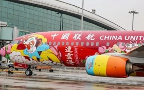 全球首架西遊主題彩繪客機亮相廣州。(圖源:互聯網)