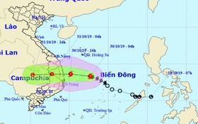 東海熱低壓轉強成為 5號颱風。圖為5號颱風的移動方向。(圖源:國家水文氣象預報中心)