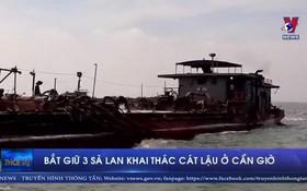 三盜採沙駁船被查獲。(圖源:VNews視頻截圖)