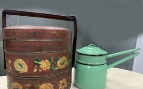 李婆婆贈送的華人婚禮古老全盒和燉蒸器皿。