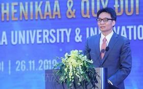 政府副總理武德膽在Phenikaa大學落成及Phenikaa 創意革新基金公佈儀式上致詞。(圖源:越通社)