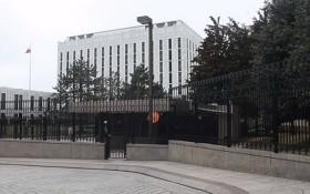圖為俄羅斯駐美國華盛頓大使館。(圖源:視頻截圖)