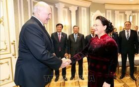 國會主席阮氏金銀(右)會見盧卡申科總統。(圖源:越通社)