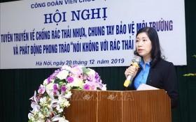 越南公職人員工會副主席潘方幸在會上發言。(圖源:越通社)