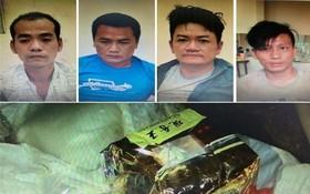 被抓獲的4名販毒團夥及毒品物證。(圖源:警方提供)