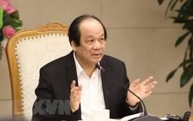 梅進勇部長主持會議並發表講話。(圖源:越通社)