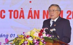 最高人民法院院長阮和平在會議上發言。(圖源:陲楊)