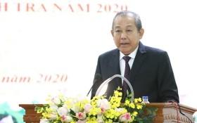 張和平副總理在會議上致詞。(圖源:越通社)