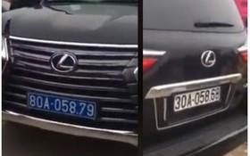 車尾是30A-058.68白色車牌,但是該車前面的是80A-058.79藍色車牌。(圖源:視頻截圖)
