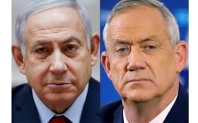 以色列總理內塔尼亞胡(左)與前參謀總長甘茨。(圖源:AFP)