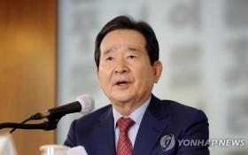 韓國國務總理丁世均27日在與外媒記者座談會上發言。(圖源:韓聯社)