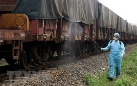 LP3/LP8列車進站前接受噴霧消毒。(圖源:越通社)