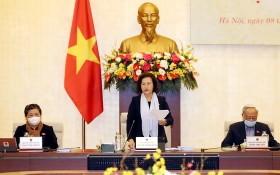 國會主席阮氏金銀(中)在會議上發言。(圖源:越通社)