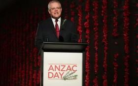 澳洲總理莫里森發表紀念澳新軍團日演講。(圖源:AAP)