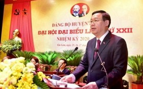 黨中央政治局委員、河內市委書記王廷惠出席大會並發表指導意見。(圖源:維鈴)
