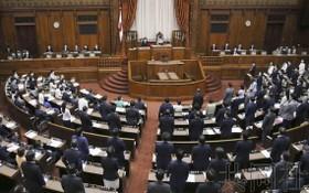 日本參院全體會議現場。(圖源:共同社)