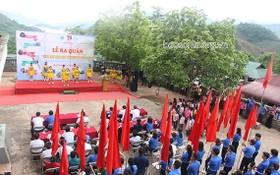 山羅省瓊涯縣棧恩鄉昨(6)日舉行2020年夏天青年志願活動出發儀式。