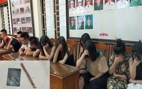 聚集吸毒被扣留的14名男女青年。(圖源:鄭維興)