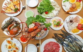 安東Café Central自助餐廳推出的多款海鮮美食。
