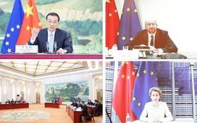 6月22日,李克強同歐洲理事會主席米歇爾、歐盟委員會主席馮德萊恩共同主持第二十二次中國-歐盟領導人會晤。(圖源:新華社)