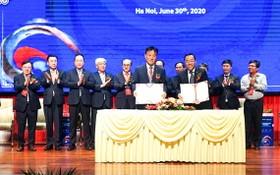 外交部外務局與越南韓國商會(KORCHAM)舉行新合作備忘錄簽署儀式。(圖源:黃玲)