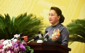 國會主席阮氏金銀。(圖源:VOV)