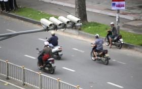 圖為安裝在第一郡陳興道街上的治安監控視頻。(圖源:玉陽)