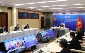 越南-紐西蘭視像會議現場。(圖源:越通社)