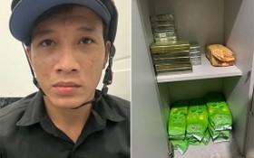 非法販運毒品被抓獲的嫌犯(左圖)與毒品物證。(圖源:光輝)