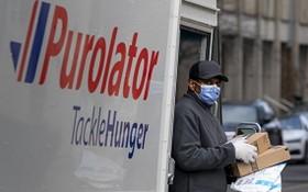 疫情期間,一名快遞服務人員為客戶上門送貨。(圖源:加通社)