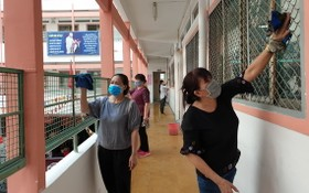 范文二學校的老師和員工在開學前打掃課室。