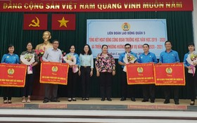 4所學校獲市勞動聯團頒贈出色錦旗。